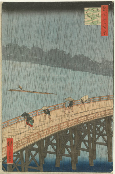 Utagawa Hiroshige Sudden Evening Shower on the Great Bridge near Atake