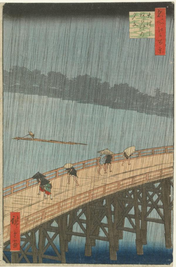 Utagawa Hiroshige - Sudden Evening Shower on the Great Bridge near Atake