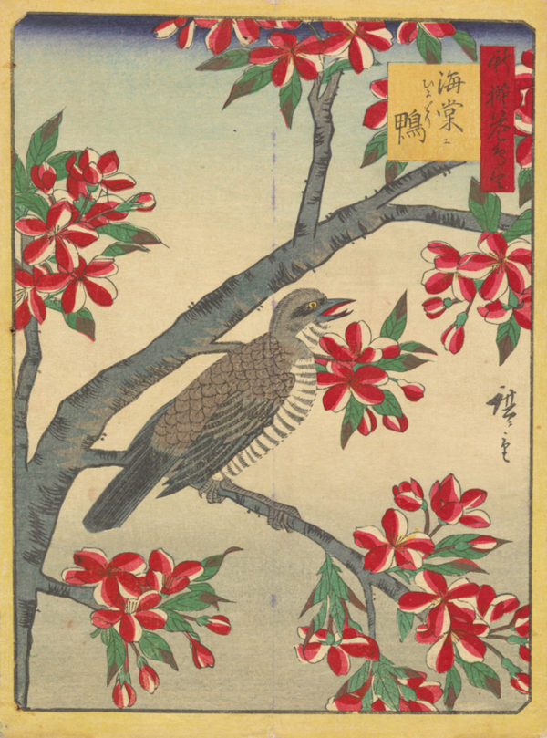 Utagawa Hiroshige III Crab Apple and Brown-Eared Bulbul