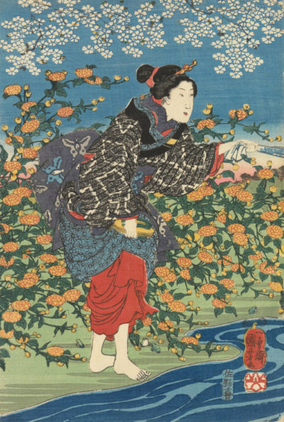 Utagawa Kuniyoshi Woman on a Riverbank